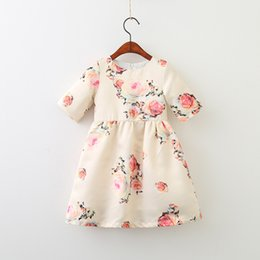 Barato Vestidos De Menina Da Flor Da Flor Dos Miúdos-Girls Flower Dresses 2018 Spring Kids Girls Vestido floral impresso Baby Girl Princess Ruffles Dress Kids Christmas Clothing