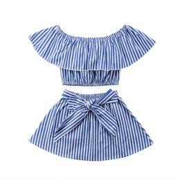 $enCountryForm.capitalKeyWord UK - Pudcoco Big Ruffle Blue Striped Off Shoulder Top Skirt 2Pcs Newborn Kids Baby Girls Outfits T-shirt Top+Tutu Skirts 2PCS