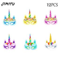 $enCountryForm.capitalKeyWord Australia - JIMITU 12pcs pack Rainbow Unicorn Theme Party Colorful Cartoon Masks Paper for Kids Boy Girl Birthday Party Supplies Decoration