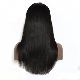 Human Hair Wig Beautiful UK - beautiful hair 150% density human hair top quality full lace wig , 16 inch lace front wig silk straight wig for women