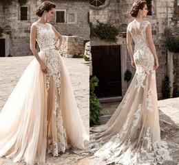 $enCountryForm.capitalKeyWord Canada - Vintage Over Skirts Wedding Dresses Mermaid See Through Lace Appliqued Sash Detachable Train Boho Bridal Gowns Plus Size Wedding Gowns