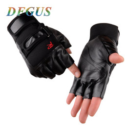 Red Leather Half Gloves Australia - High Quality Men Exercise Training Sport Fitness Sports Gym Gloves Men Half Finger PU Leather Mens Gloves for Tactical