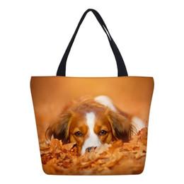 Dog Bucket Australia - VEEVANV Fashion Designer Women Tote Hangbags Lovely Dogs Printed Canvas Bookbag Female Foldable Portable Girls Shoulder Bags New