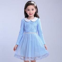 $enCountryForm.capitalKeyWord Canada - Pink Blue Princess Dress For Girls 4 6 8 10 12 years Old Long Sleeve Clothes Vestido De Menina Spring Summer Kids Cotton Dresses