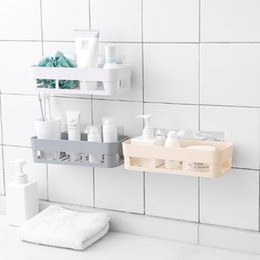 Tipo montado en la pared de plástico Estantes de baño Cocina Rack de  almacenamiento Organizador Estante de ducha Accesorios de baño Agujeros al  azar 137bb2706289