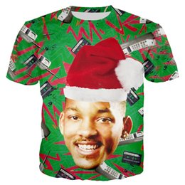 $enCountryForm.capitalKeyWord NZ - Newest Men Womens Fresh Prince of Bel-Air with Christmas Hat 3D Print T Shirt Tops Plus Size Style Outfit Funny Tees Top PunkU1126