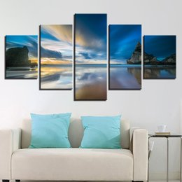Beautiful Beach Pictures Australia - Framework Home Decor 5 Pieces Beautiful Beach Sunrise Pictures Rock Seascape Canvas Painting Poster Modular Living Room Wall Art