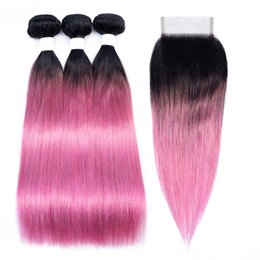 Pink ombre weft online shopping - T B Pink Red Bundles with Closure Ombre Straight Human Hair Colored Brazilian Hair Extension Bundles with Lace Closure