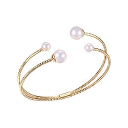 $enCountryForm.capitalKeyWord NZ - (92BA) Fashion Jewelry White Pearl Bangles ( Openning ) and Bracelets for Women 18k Gold Plated
