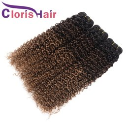 Discount brazilian kinky curly hair weave ombre Dark Root Blonde Ombre Hair Extensions Kinky Curly Raw Indian Virgin Hair 3 Bundles Colored 1B 4 30 Curly Ombre Human Ha