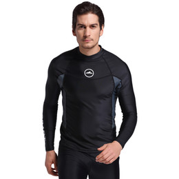 Wetsuit sWimWear online shopping - 2018 Long Sleeve Men Rash Guards Swimwear Shirts Lycra Sun Protective Wetsuit Tops Diving Snorkel Swimming Surfing Rashguard Drop shipping H