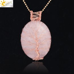 $enCountryForm.capitalKeyWord Australia - CSJA Natural Stone Teardrop Rose Quartz Necklace Pendant Tree of Life Wire Wrapped Charm Healing Gemstone Amulet Jewelry Women Gift F300 A