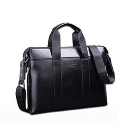 China 2018 Famous Brand Designer Briefcase Simple Mens Leather Briefcase Solid Large Business Man Bag Laptop Bag Messenger Bag for Men cheap branded leather bags for men suppliers