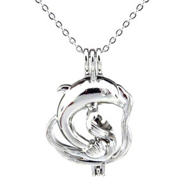 silver dolphin chains UK - Silver Ocean Animal Large Dolphin Hollow Oil Diffuser Locket Women Aromatherapy Beads Pearl Oyster Cage Necklace Pendant-Boutique gift