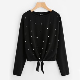 Chinese  Pearl Beaded Knot Front Cute Tee Shirt Black Casual T Shirt for Women Long Sleeve Round Neck Women T-Shirts manufacturers