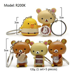 Squishy Charms Wholesale Australia - Squishy Rilakkuma Food Version Key Chain Bag Pendant Charms Synthetic Resin 5 Pieces for office home desk toy car key