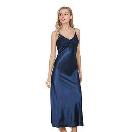 Women s Spring and Summer Imitation Silk Sleep Long Paragraph Split Sexy  Sling Sleep Dress ladies silky sleepshirts Nightgowns d88e4d4cc