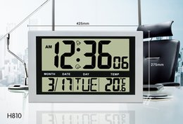 Wholesale Simple Digital Wall Clock Calendar LCD display large number Modern Alarm Clock Temperature for household office use H810 white