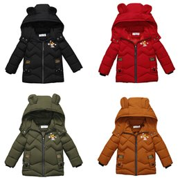 Bear ear clothes online shopping - Baby Boy Thickening Snowsuit D Bear Ear Patchwork Crown Love Printed Coat Kids Winter Clothes Boutique Embroidery Zipper Hooded Jacket T
