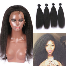 kinky weave bundles closure 2019 - Virgin Pre Plucked 360 Lace Frontal Closure With 4 Bundles Kinky Straight Mongolian Human Hair Weaves 8-30inch Tangle Fr