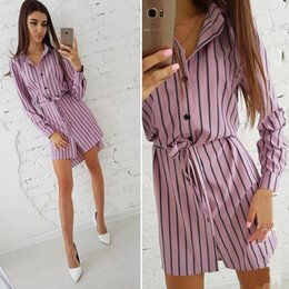 Wholesale Pink Sashes Australia - New 2018 Asymmetrical Hem Striped Autumn Dress Women Turn Down Collar Long Sleeve Casual Sashes Shirt Dress Party Mini Dresses