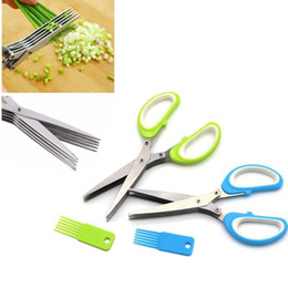 kitchen shredder chopper UK - 5 Layers Onion Cutter Scissors Kitchen Shears For Cutting Onion Green Scissors Onion Chopper Slicer Kitchen Accessories Tools