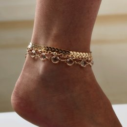 $enCountryForm.capitalKeyWord NZ - Fashion beauty alloy chain crystal tassel foot jewelry anklets for women gold silver anklets design Three-pieces suit set wholesale