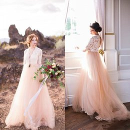 white long sleeve wedding reception dress NZ - Vintage Blush Pink Long Sleeve Country Wedding Dresses 2018 Modest Fairy V-neck Outdoor Farm Bohemian Bridal Reception Wedding Dress