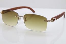 stones sunglasses 2019 - 2018 New Luxury brand Smaller Big Stones Rimless Sunglasses 8200759A Designer Rimless Carved Wood Trimming Lens Sunglass