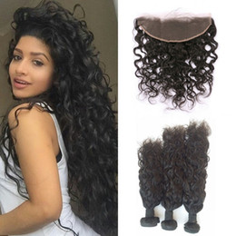 lace frontal closure brown 2019 - Full Lace Frontal Closure With 3 Bundles Virgin Human Hair Extensions Brazilian Water Wave Lace Frontals discount lace f