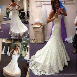 $enCountryForm.capitalKeyWord Australia - Mermaid Full Lace Wedding Dresses Crystal Beaded Sash Sweep Train Country Beach Lace Bridal Gowns Plus Size Sweetheart Neckline New Arrival