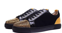 China 2018 New men women black crystals toe with colorblock leather red bottom sneakers,brand design flats causal sports shoes Free shipping cheap flat shoes crystals suppliers