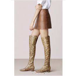 $enCountryForm.capitalKeyWord NZ - 2018 European American model show snakeskin genuine leather over the knee boots high-end customized chunky heel women long boots