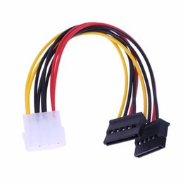 ata ide drives 2019 - Wholesale- 4Pin IDE to 2 Serial ATA SATA Y Splitter Hard Drive Power Adapter Cable 1x4 pin power connector to 2x15 pin p