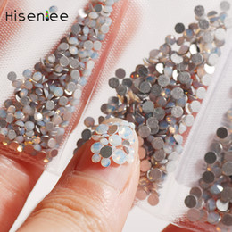 Discount flat back gems - 1 Pack Multi-Size SS3-SS10 6 Sizes Opal Nail Rhinestones Glitter Flat Back Crystal Gems 3D Nail Art Shoes Decorations Ge