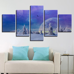 Art Canvas Prints Australia - Printing Abstract Pictures Wall Art 5 Pieces Universe Space Planets Canvas Painting Modular Earth Poster Home Decor Living RoomHD Prints 5 P