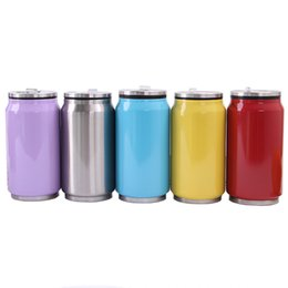 Discount metal food cans - Cola can mug 350ml cola bottle food grade 304 stainless steel vacuum cup insulation with straw lids custom logo