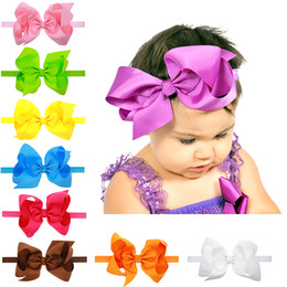 $enCountryForm.capitalKeyWord Australia - 15*8cm Little Girls Big Bow Headband Newborn Hair Accessories Elastic Hair Bands Cute Baby Girls Headbands 16 Colors To Choose
