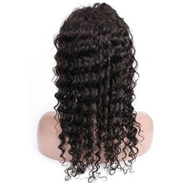 China Glueless Lace Front Virgin Human Hair Wigs Pre-Plucked Full Lace Wigs Deep Wave 10-24 inch African American Wigs cheap african american full wigs suppliers
