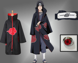 Red coat cosplay online shopping - Halloween Anime NARUTO Uchiha Itachi Cosplay Costume Akatsuki Ninja Wind Coat Cloak Cape Robe Coat set Ring Headband