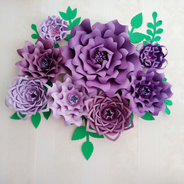 paper flower decoration diy Australia - Half Made Purple Giant Paper Flowers DIY Full Kits Wedding & Event Decorations Backdrops Deco Baby Nursery Video tutorials