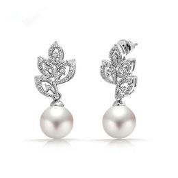 ridal earrings SLBRIDAL Silver AAA Grade CZ Leaf Wedding Drop Pearls  earrings pin luxury dangle cubic zircon bridal earring Bridesmaids E.. 2321cc20c962
