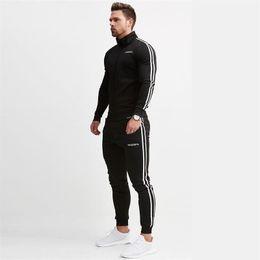 $enCountryForm.capitalKeyWord UK - Tracksuits Jacket + Pants Men Sports Fitness Sweatshirts Striped Zipper Hoodies Men Gym Training Run Coat Jogger Jackets Suit