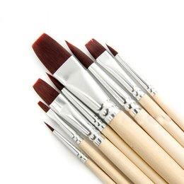 Wholesale 8pcs set Nylon Hair Paint Brush Set Wooden Handle Artists Gouache Watercolor Acrylic Brushes Art Supplies
