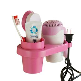 Hair Holder Comb Australia - Wall-Mounted Suction Hair Dryer Holder Comb Rack Stand Set Bathroom Plastic Storage Racks And Teethbrush Cup Shelves