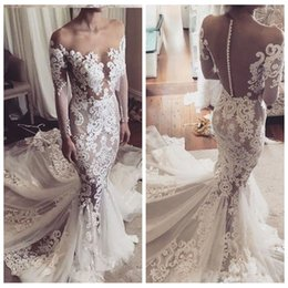 Slim full lace wedding dreSS online shopping - Beautiful Long Sleeves Lace Appliques Mermaid Wedding Dresses Full Appliqued Lace Petite Slim Button Back Court Train Bridal Gowns