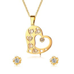 $enCountryForm.capitalKeyWord NZ - Trendy Heart Pendant Necklace and Flower Stud Earrings Jewelry Sets for Women With Cubic Zirconia Gold Stainless Steel Dating Daily Wear
