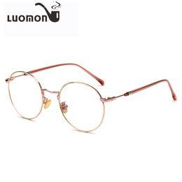 Discount myopia glasses male eyeglasses frame LUOMON Retro Round Glasses Frames Unisex Flat Mirror Eyeglasses Frame New 2018 Vintage Myopia Glass Full Frame Female Ma