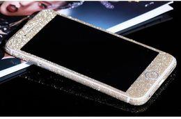 Vente en gros Protecteur d'écran paillettes Bling brillant corps entier autocollant mat de la peau pour iphone7 7plus 6 6S plus 5 5S Samsung S7 bord S8 plus décalcomanies avant + arrière
