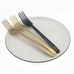 stainless cake fork NZ - New Line Small Fruit Fork Set Tableware Gold Dessert For Cake Gold Salad Fork Dinnerware Set Tea Fork Set Stainless Steel 1 Piece